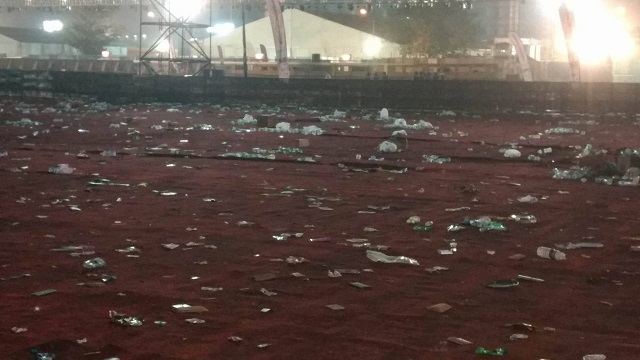 The mess left behind by the crowd of 80,000 almost defeated the purpose of the entire festival. Photo: Ornellius Saldanha