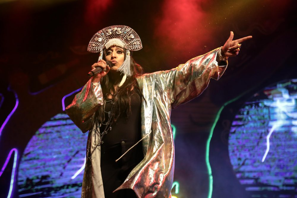Indian-American rapper Raja Kumari performs her empowering brand of raga-meets-rap at NH7 Weekender Pune. Photo: Bryan Jacob Daniel