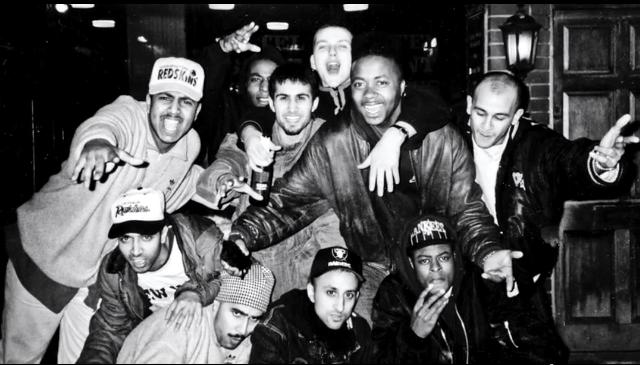 (far left) Uri Solanki with DJs and MCs in the UK, circa 1990. Photo: Courtesy of DJ Uri