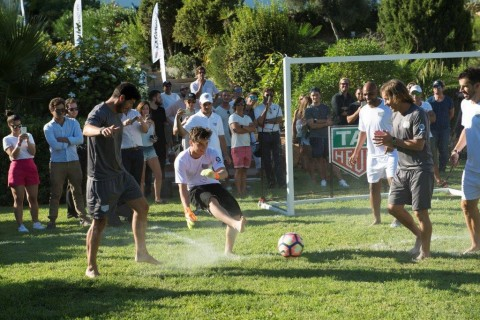 The producers joined superstar players from the La Liga football association for an impromptu game.